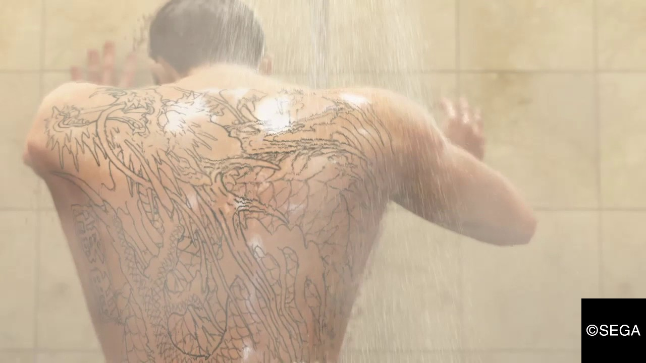 Kiryu Kazuma Tattoo: Kiryu Shower Scene