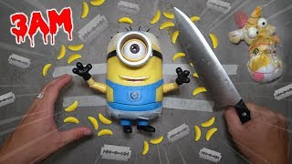 CUTTING OPEN HAUNTED MINION DOLL AT 3AM!! *WHAT'S INSIDE MINION*