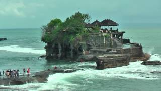 Pura Tanah Lot temple is built on a rock in the sea (Bali, Indonesia)