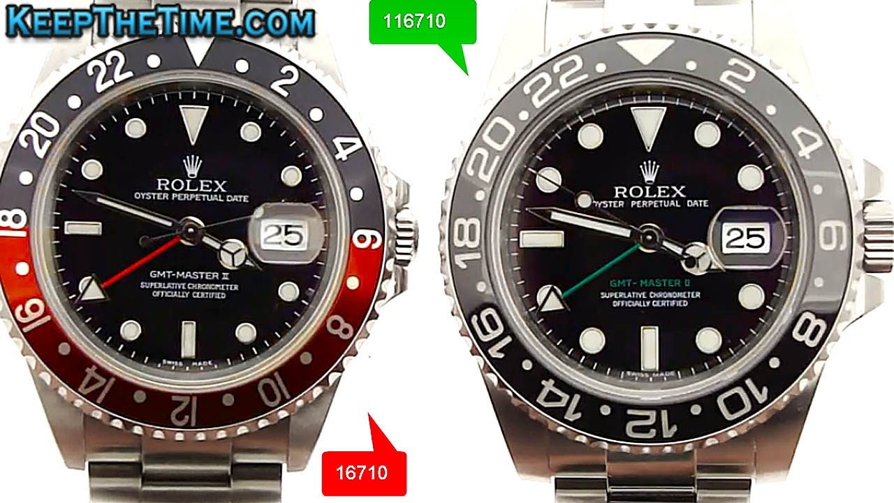 Real Rolex Watches >> Rolex GMT-Master II 16710 vs 116710 Comparison Video - YouTube