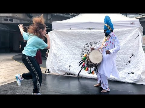Freestyle Dancing To The Dhol Beat Of Ustaad Ravi Kumar Ji @ Vancouver's Robson Square