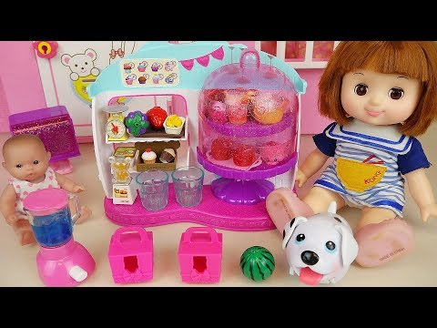 Baby doll food cafe and surprise toys with pet dog play thumbnail