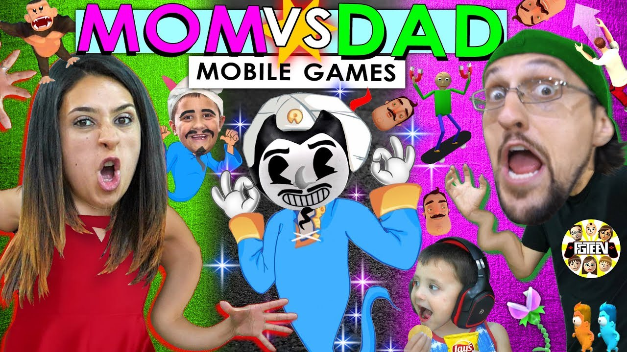AKINATOR CANT BE BEAT!!  FGTeeV Mom vs Dad Mobile Games Challenge (Bendy, Baldi, Nom, Flip Diving)