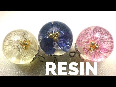 紫陽花玉レジンピアス/Hydrangea ball made with resin