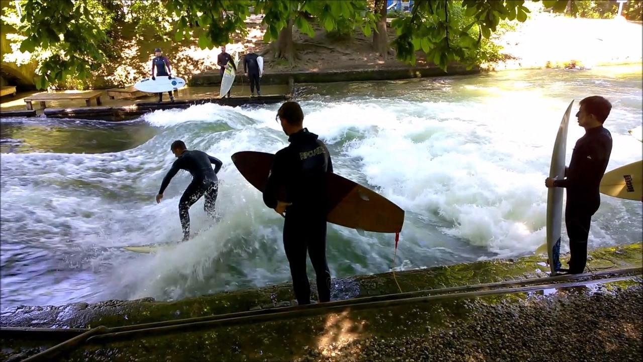 River Surfing On The Eisbach In The English Garden Munich Surfen Im Englischen Garten München By Kar