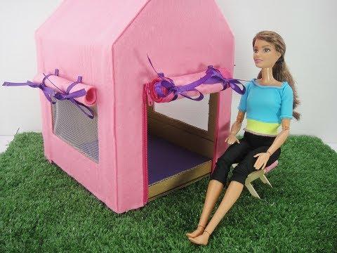 DIY Barbie Hacks & Crafts - Camping Tent & Chair