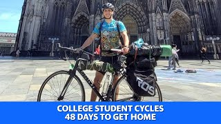 Greek college student cycles 48 days to get home