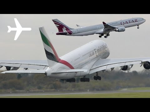 Emirates a380 and Qatar a330 Departing on Runway 23L at Manchester Airport