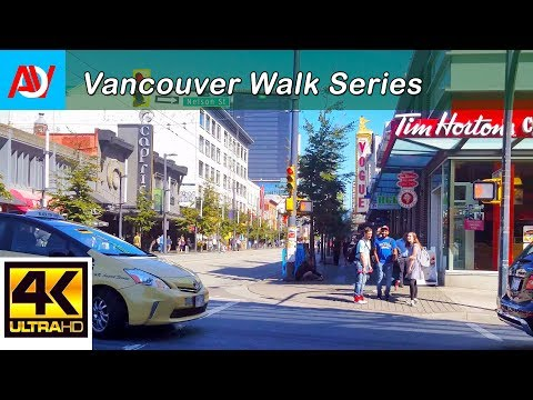 Vancouver 10 MINUTE WALK: DOWNTOWN GRANVILLE STREET (DAY) Heading North from Davie to Robson - 4K