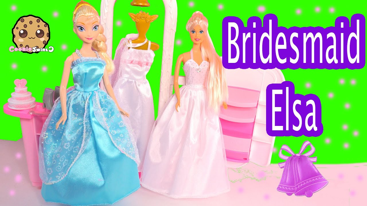 Disney Frozen Queen Elsa Bridesmaid Dress Up at Barbie Wedding ...