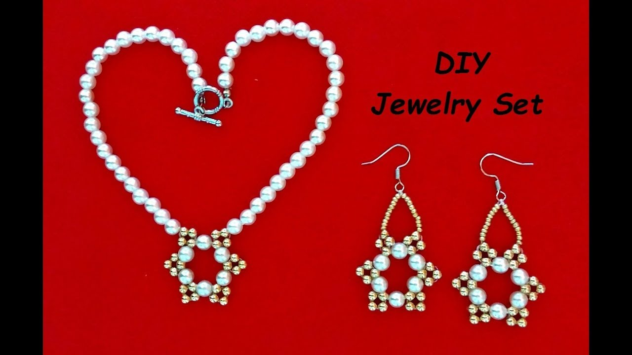 DIY Jewelry Set with pearls - YouTube