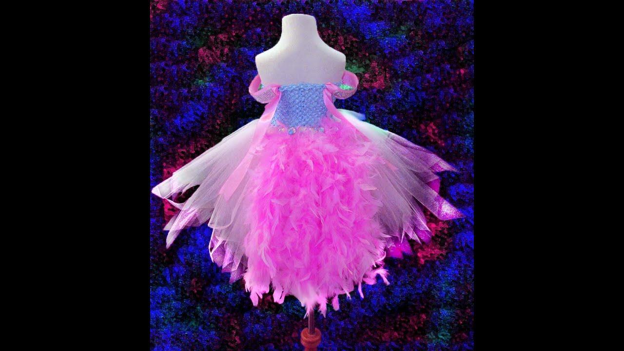 No sew pink princess feather tutu dress youtube