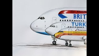 SPEED DRAWING, Airbus family, A380, A330 and  A320)
