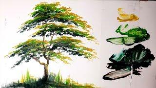 Cara gampang melukis pohon menggunakan cat acrylic - acrylic painting