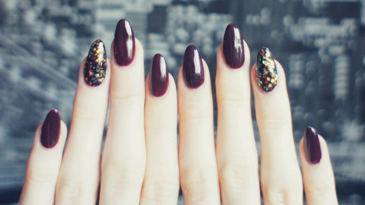 Idealny Jesienny Manicure Paznokcie Hybrydowe Z Brokatem