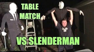 SLENDERMAN SUBMISSION TABLES MATCH vs Grims Toy Show Backyard Wrestling Action!