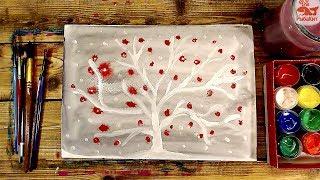 Зимнее дерево / урок рисования красками от РыбаКит