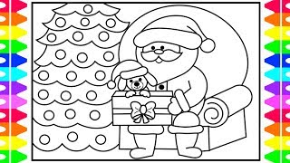 How to Draw SANTA for Kids | Christmas PUPPY Surprise Coloring Page | Fun Coloring Pages for Kids