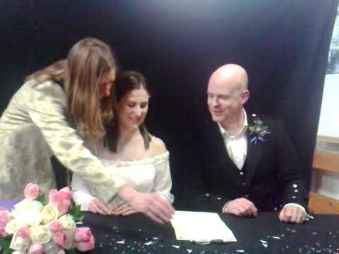 Wedding, Tall Ship, Glasgow  - Signing the register 04.04.09