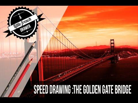 Drawing the Golden Gate Bridge -Faber Castell Polychromos