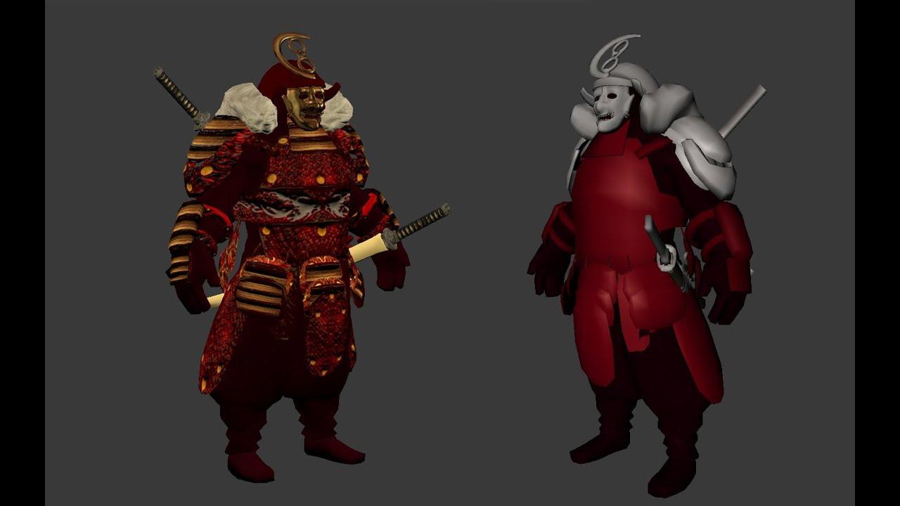 samurai character 3d model turn around youtube