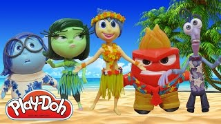 Play Doh INSIDE OUT Joy, Sadness, Anger, Disgust and Fear in Hawaiian Costumes