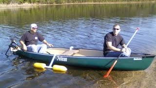 Fishing Canoe With Home Made Outriggers and Trolling Motor