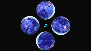 Earth from Space at Night Rotation 4-face Hologram