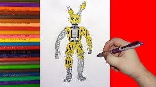 How to draw Ignited Springtrap, FNaF, Как нарисовать игнайт Спрингтрапа, ФНаФ