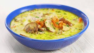 Суп в удовольствие! Изумительный сливочный суп с курицей и грибами за 30 минут от Всегда Вкусно!