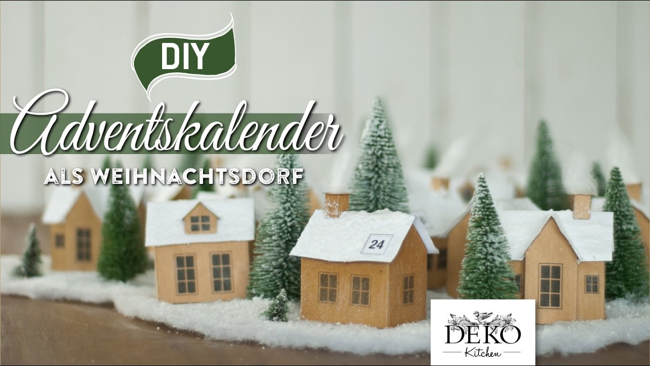 """DIY: Adventskalender """"Weihnachtsdorf aus Papier"""" selber machen [How"""