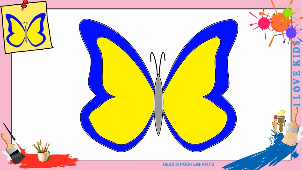 dessin papillon 4 comment dessiner un papillon facilement pour enfants youtube. Black Bedroom Furniture Sets. Home Design Ideas