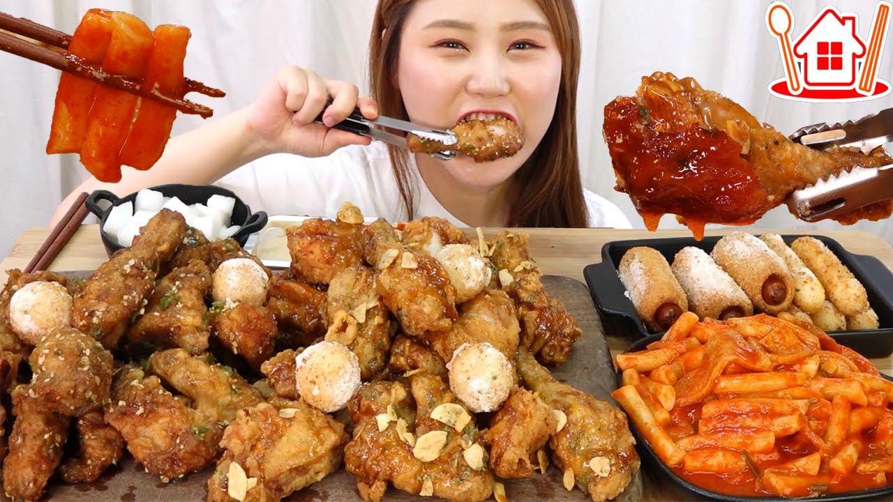 ASMR Mukbang   🍗치킨의민족 청마치킨, 마요레치킨, 민족떡볶이, 치민볼, 치민스틱, 치미니도그 먹방