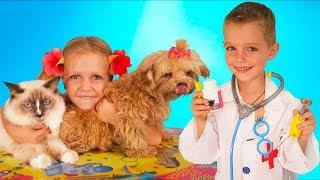 Никита и Николь играют в доктора | Дети лечат животных | Детское видео