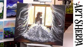 BRIDE IN GOWN ROMĄNCE Beginners Learn to paint Acrylic Tutorial Step by Step