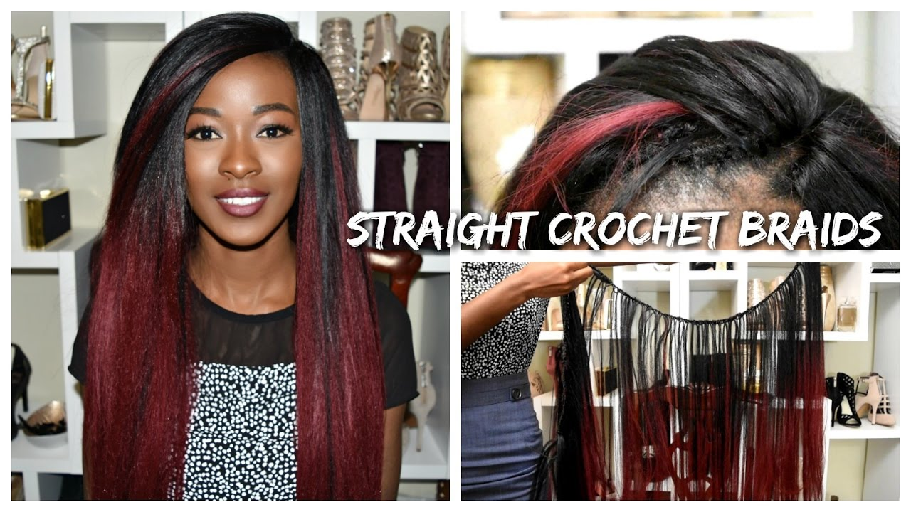 Straight Burgundy Ombre Crochet Braids 24 Inches Long Leeven Hair