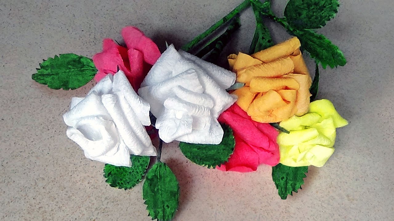 How To Make Rose Flowers With Paper Napkins Youtube