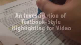 An Investigation Of Textbook Style Highlighting For Video
