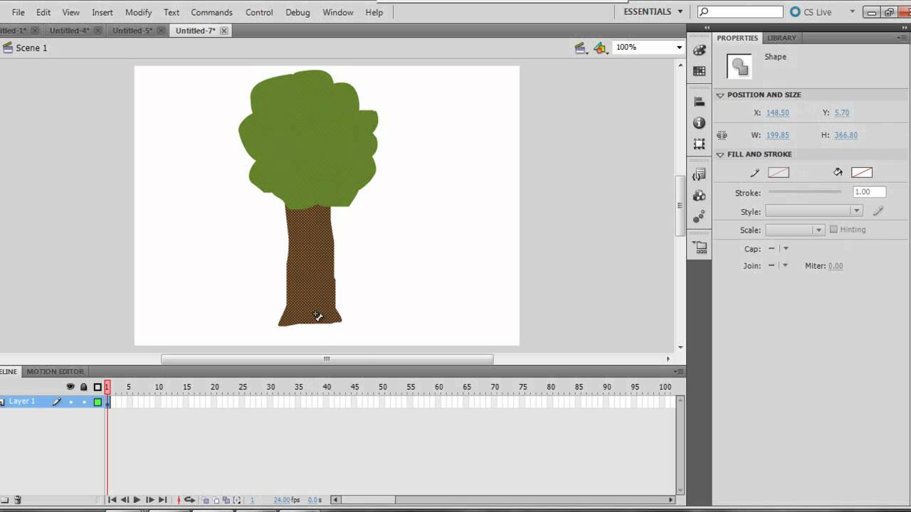 swinging tree using adobe flash professional cs5.5 - YouTube
