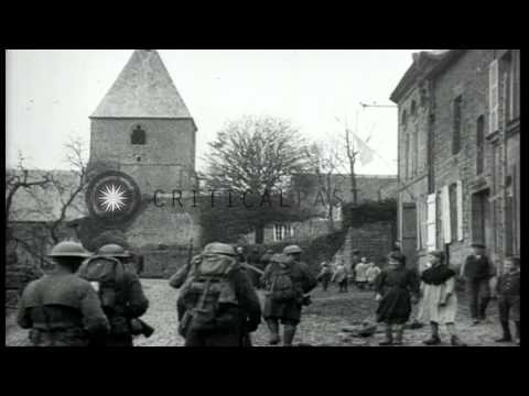 Occupation of French towns by American Army during the Meuse-Argonne offensive in...HD Stock Footage