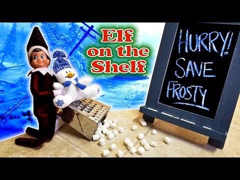 Purple & Pink Elf on the Shelf - Evil Dark Elf vs Frosty the Snowman! Day 27