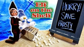 Purple & Pink Elf on the Shelf - Evil Dark Elf vs Frosty the Snowman! Day 27