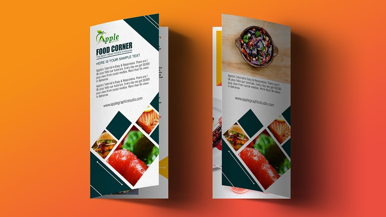 Bi Fold Brochure Design for Food Restaurant - Photoshop Tutorial ...