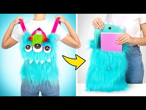 DIY Fluffy Three-Eyed Monster Backpack