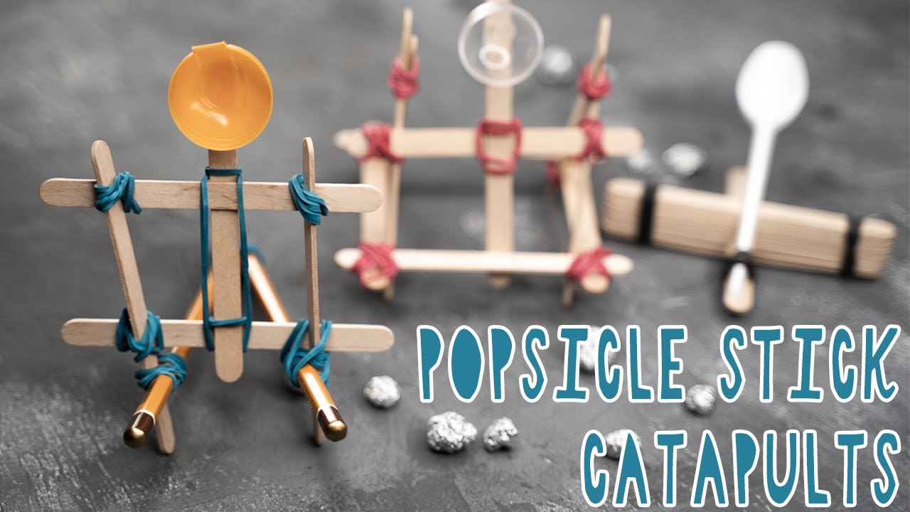 3 Cool Diy Popsicle Stick Catapults Youtube
