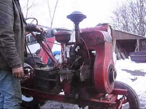 1930s Wisconsin AF engine mounted on homemade tractor