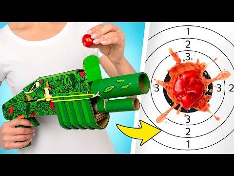 Сделай сам: картонный бластер для стрельбы помидорами!