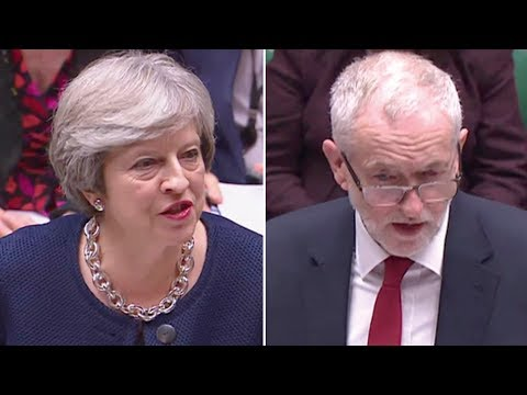 Theresa May and Jeremy Corbyn at PMQs - watch live
