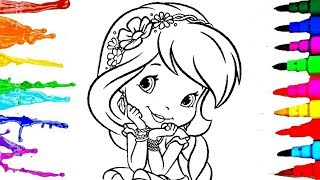 Strawberry Shortcake Berry Best Garden Coloring Kids Drawing Pages with Colored Sparkle Markers