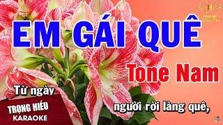Karaoke Em Gái Quê Tone Nam Nhạc Sống | Trọng Hiếu
